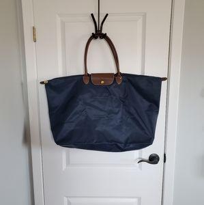 Navy Nylon Foldable Tote Bag